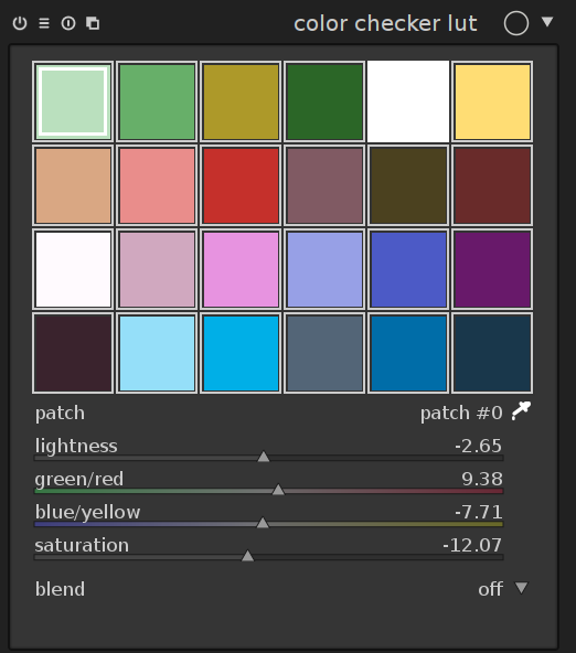colour manipulation with the colour checker lut module
